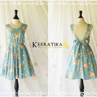 A Party V Shape Floral Dress Spring Summer Sundress Backless Party Dress Prom Dress Floral Wedding Bridesmaid Dress Tea Dress XS-XL Limited