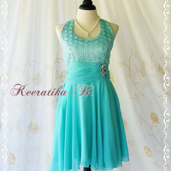 Bella Dance Halter Dress - Aqua Blue Color Halter Cocktail Dress Prom Party Bridesmaid Dress Homecoming Anniversary Dress Small