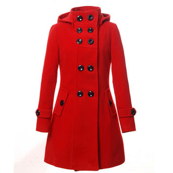 Winter Long Coat Wool Blends Warm Casaco Feminino Fashion Woman Clothing Abrigos Mujer Manteau Femme Poncho Female Women Coat