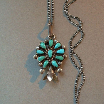 Vintage NATIVE American Squash Blossom Necklace Petit Point TURQUOISE Pendant STERLING Signed Chain c.1970s