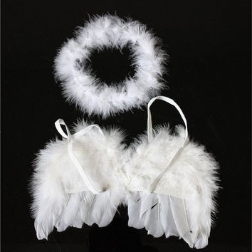 Infant Newborn Photo Prop Baby Kids Angel Fairy Feather Wing Costume for Children's Christmas gift [8833430220]