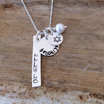 Star of David Charm Necklace - Chanukah - Bat Mitzvah Gift - Hanukkah - Personalized Hebrew Necklace - Engraved Silver Name Charm -I