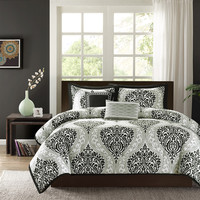 Full / Queen size 5 Piece Comforter Set with Black White Damask Print
