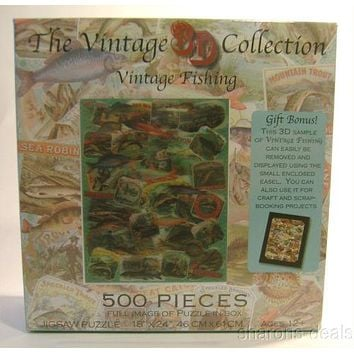 """Vintage Fishing Jigsaw Puzzle 500 Pieces 18""""x24"""" 3D Collection Picture Easel NEW"""