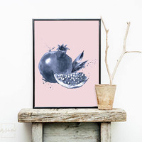 Pomegranate art print decor, Printable wall art poster, Pomegranate fruit art print gift, Vegetarian food art, Large pink kitchen wall decor