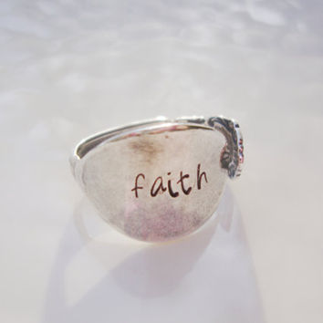 Faith hand stamped adjustable Sterling Silver Plated Demitasse Spoon Ring