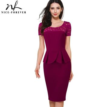 Nice-forever Vintage Embroidery Hollow Out Lace Wear to Work Short Sleeve O-Neck Peplum Bodycon Women Office Pencil Dress B386