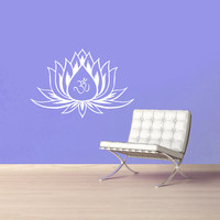 Lotus Flower With Om Sign Yoga Wall Decals - Wall Vinyl Decal - Interior Home Decor - Housewares Art Vinyl Sticker  L623