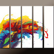 Abstract Canvas Art Painting Huge 5pc  60x48 Contemporary Original Wall Art Paintings by Destiny Womack -  dWo - The Wave