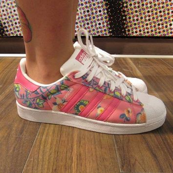 VON3TL Adidas Superstar II Originals Pink Floral Womens / Girls Casual Shoes - S75128