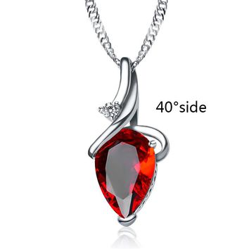 Water-Drop Shape Purple Red Pendant Necklace For Women