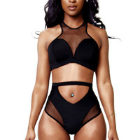 Black Mesh Spliced High-Waist Bikini