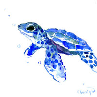 Sea Turtle art blue painting children room original watercolor one of a kind 10 x 8 in