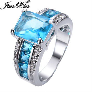 JUNXIN Crystal Sapphire Geometric Aquamarine Ring Vintage Wedding Rings For Women White Gold Filled Fashion Jewelry Gifts