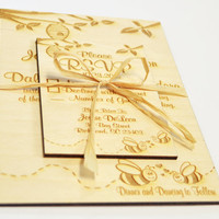 Wooden Engraved Rustic Country Honey Bees & Tree Wedding Invitation and RSVP Card Set