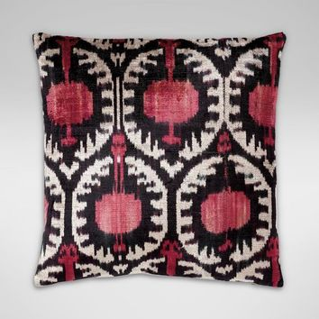 Silk Velvet Pillow, Pink/Black Ikat