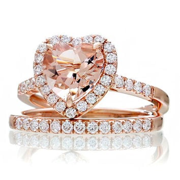14K Rose Gold Morganite Ring Heart Shape Cut Dainty Morganite Diamond Heart Halo Solitaire Engagement Anniversary Ring
