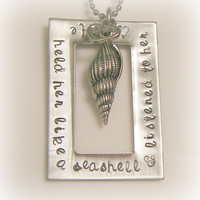 Hand Stamped Jewelry - Personalized Jewelry - He held her like a seashell & listened to her heart