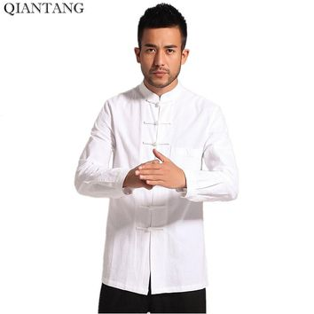White Men Cotton Linen Long sleeve Kung Fu Shirt Classic Chinese Style Tang Clothing Size S M L XL XXL XXXL hombre Camisa Mim903