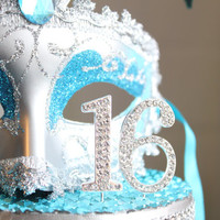Masquerade Turquoise and Silver Sweet 16 cake topper