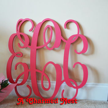 24 inch Wooden Monogram Letters Unpainted by ACharmedNest on Etsy