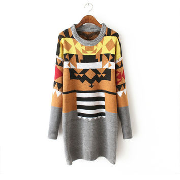 Geometric Pattern Sweater Winter Jacket Round-neck Long Sleeve Knit One Piece Dress [9176487300]