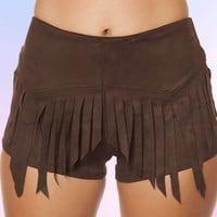 Roma 3407 Suede Short with Fringe Detail