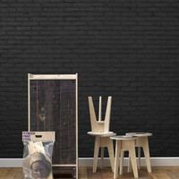 Sample of Black Brick Wallpaper design by Piet Hein Eek for NLXL