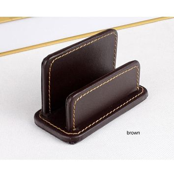 horizontal casual name card note holder case box organizer office desk stationery organization borwn 300B