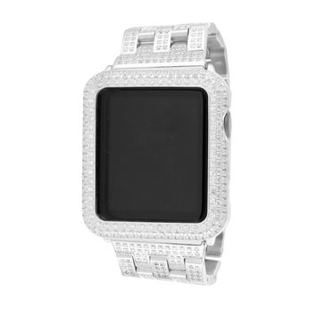 14K White Gold Finish Apple Watch
