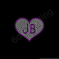"Rhinestone Iron On Transfer ""Small JB Heart"" Justin Bieber Crystal Bling Design"