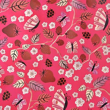 Bulk Ream Roll Floral Any-Occassion Gift Wrapping Paper, Bugs Berries CLOSEOUT