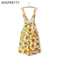 Anspretty Apparel Women floral denim overalls shorts adjustable straps sunflowers casual high waist jeans shorts with pockets