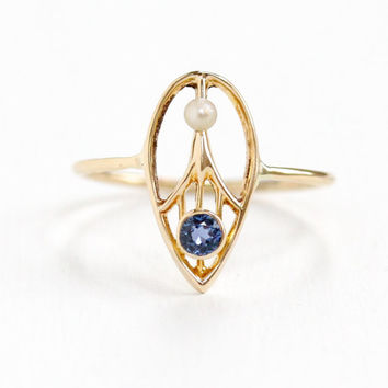 Antique Art Deco 14k Yellow Gold Genuine Sapphire & Seed Pearl Ring- 1920s 1930 Tear Drop Filigree Fine Conversion Jewelry