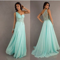 Mint Chiffon long evening dresses formal ball prom gown beading crystal