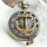 Nautical pocket watch, men's pocket watch, nautical theme,  front case is mounted with ships anchor and chains