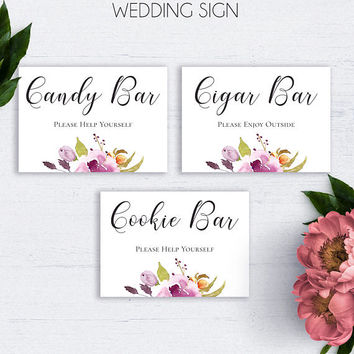 Bohemian Wedding Bar Sign, Printable Wedding Reception Sign, Wedding Decor, Wedding Signs, Candy Bar, Cookie Bar, Cigar Bar Sign