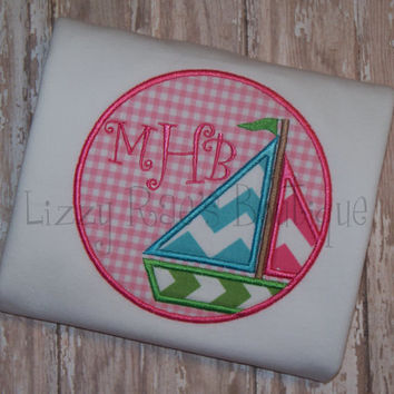 Sailboat applique shirt- Monogram shirt- Chevron applique