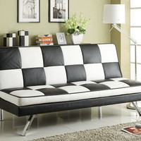 Black and white checker pattern leather like vinyl folding futon sofa bed with chrome legs