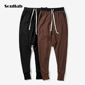 soullab new autumn men tops drop crotch harem bomber joggers pants brown black fashion street trousers hip hop swat kanye west l