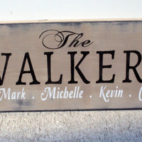 Custom Wood Sign Personalized Name Sign Shabby Chic Distressed Wood Last Name Sign Home Decor Housewarming Gift Anniversary Wedding