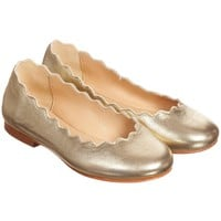 Girls Gold Metallic Leather Slip-On Pumps
