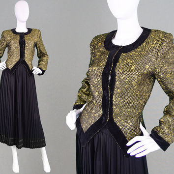 Vintage 80s VALENTINO Metallic Gold Wool Boucle Jacket Italian Designer Miss V Black Velvet Trim Wool Tweed Blazer Nipped Waist Evening Coat