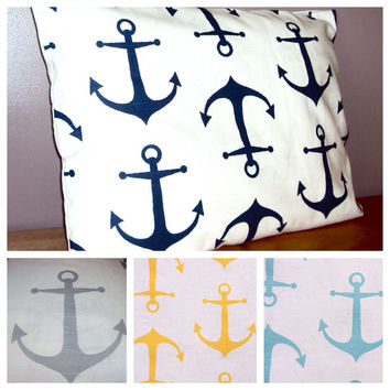Standard Size Cotton Anchor Print Bed Pillow Sham In Gray Yellow Light Blue Or Navy Blue