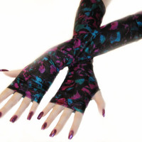 Painting Abstract- Arm Warmers watercolors Fingerless gloves wrist cuffs sleeves red magenta purple green blue black gothic feminine