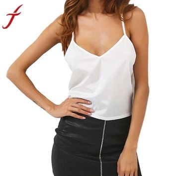 New Women Camis V Neck Vest Lace Hollow Out Backless White Spaghetti Strap Women Sexy Tops Satin Camisole