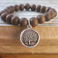 Wooden Bead and Wax Sealed Tree Charm Bracelet