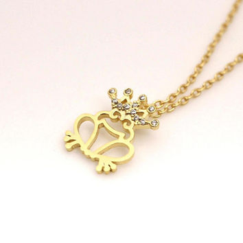 Frog prince necklace- frog necklace- unique gift  - gift idea - trend gift - suprised necklace - kiss necklace - free shipping