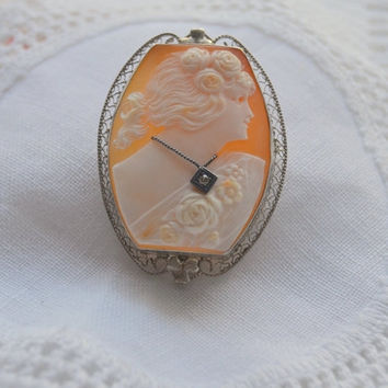 Labor Day Sale Cameo Pin  Brooch  Pendant Hand Carved Shell Cameo 14k  White Gold  with Diamond