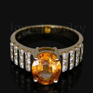 Vintage Oval 7x9mm Solid 14Kt Yellow Gold Natural Diamond Wedding Sapphire Ring G090423